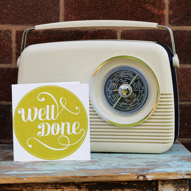 SALE Vintage Stamp 'Well Done' Card
