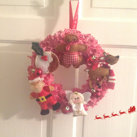 Santa and ReindeerR Christmas Rag Wreath