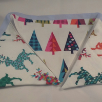 Reindeer and Christmas Trees Bunting and Fabric Wreath