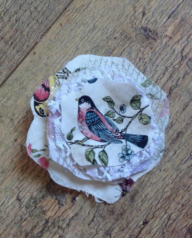 Shabby Chic Bird Brooch ,Bird Corsage
