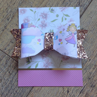 Rose Gold Glitter and Fairy Hair Bow