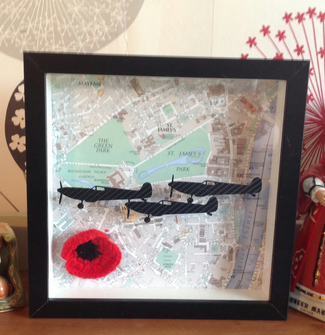 World War 2 Planes Over London Shadow Frame Box