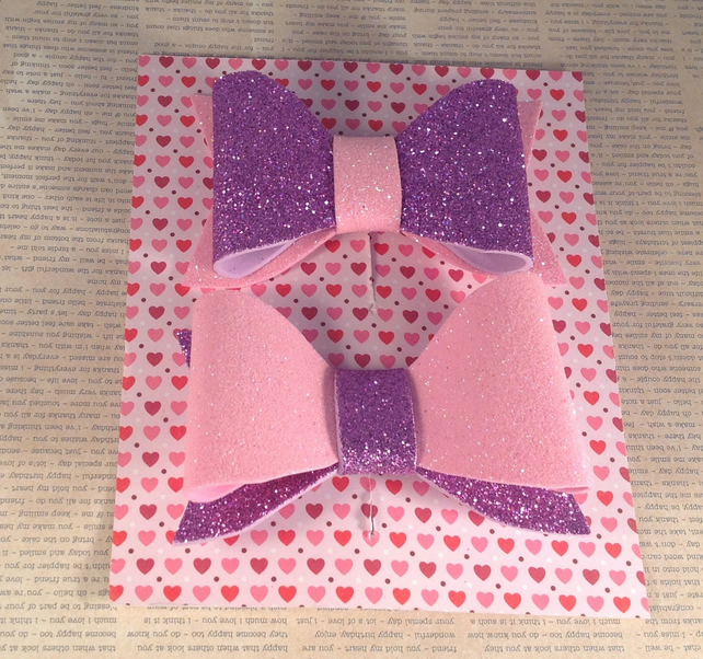 Pink and Purple Glitter Foam Hair  Bows