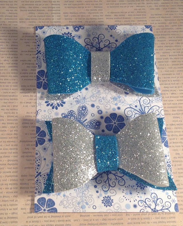 Blue And Silver Glitter Foam Bows Folksy