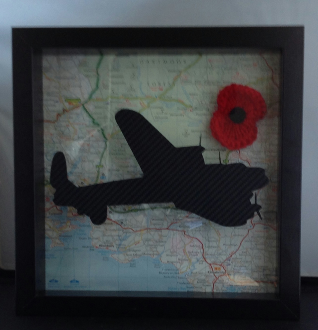 Lancaster Bomber over Plymouth Box Frame