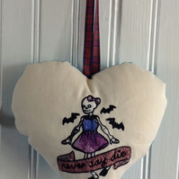 Gothic Embroidered Hanging Heart Decoration, Never Say Die Skeleton