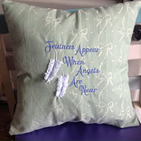 Vintage Fabric Embroidered Memorial Cushion