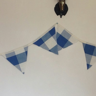 Blue and White Check Fabric Bunting