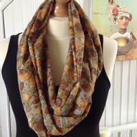 Ladies Autumn Leaves Infinity Scarf, Autumnal Colours Scarf
