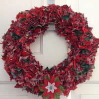 Traditional Christmas Rag Wreath with Poinsettia
