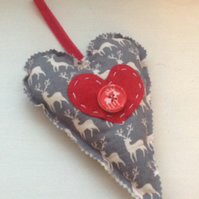 Scandi Style Padded Fabric Heart Door Hanger, Heart Christmas Decoration,