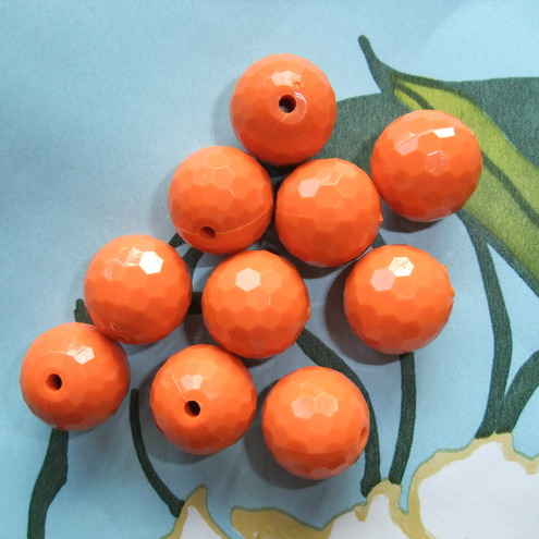 Orange Faceted Bead - Pack of 10 - Reduced