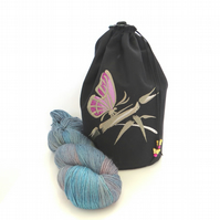 Butterfly Embroidered Project Bag