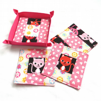 Patchwork Coaster Set - Pink Love Cats
