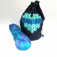 Knitted Heart Embroidered Project Bag