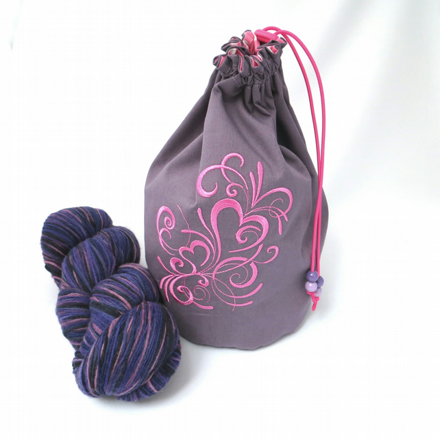 Inky Hearts Embroidered Project Bag