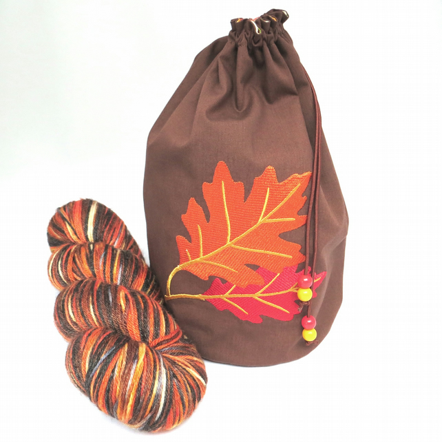 Oak Leaves Embroidered Project Bag