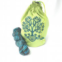 Tree of Life Embroidered Project Bag