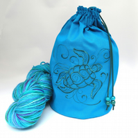 Turtle Swirls Embroidered Project Bag