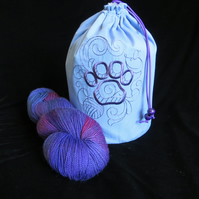 Doodle Cat Track Embroidered Project Bag