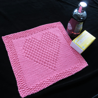 Knitted Heart Wash Cloth (Face Cloth)