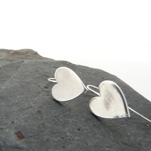 Beautiful silver heart earrings, valentines gift