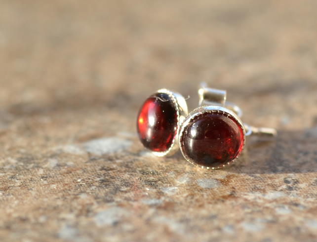 Garnet rounds and sterling silver stud  earrings - January Birthstone