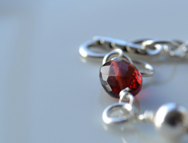 Garnet and sterling silver bracelet - January Birthstone