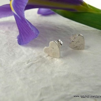 Hammered Fine Silver Hearts