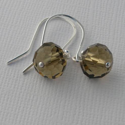 Handmade sterling silver and crystal briolette earring (32)