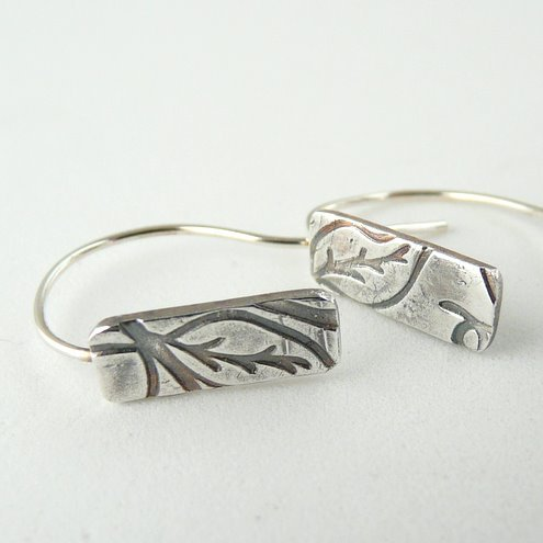 Fine silver textured earrings