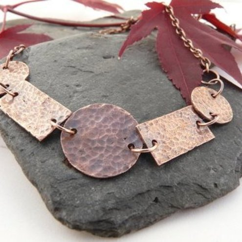 Copper textured necklace