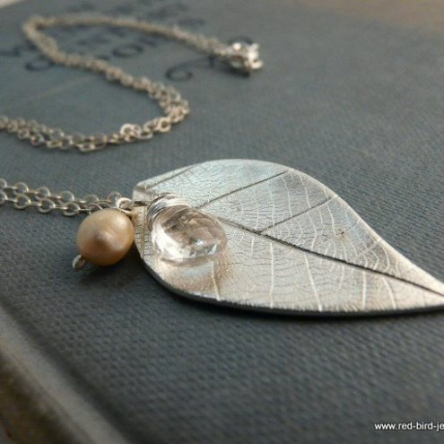 Fine silver leaf pendant with rock crystal and pearl