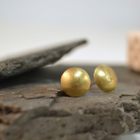 Hello sunshine! Brushed brass dome stud earrings