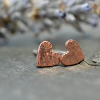 Teeny tiny copper heart stud earrings