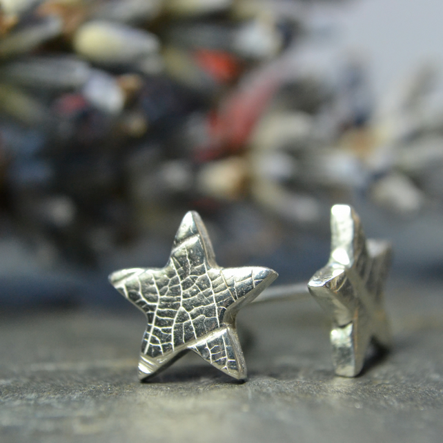 Sterling silver and fine silver small star stud earrings