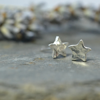 Teeny tiny sterling silver and fine silver small star stud earrings