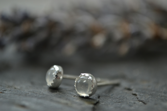 Moonstone, sterling silver stud earrings