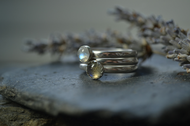 Sterling silver stacking rings - greys