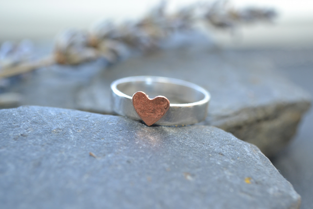 Sterling silver band with copper hammered heart, valentine