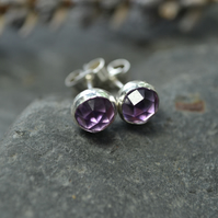 Rose cut amethyst and sterling silver stud earrings - February Birthstone