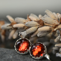 Garnet (January birthstone) rose cut sterling silver stud earrings
