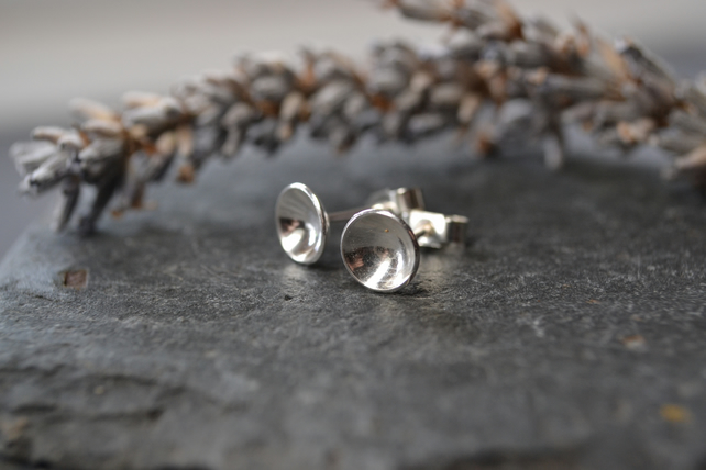 Domed circle sterling silver stud earrings