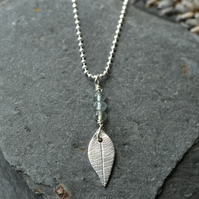 Moss aquamarine  and silver leaf pendant