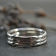 Set of three stacking sterling silver bands