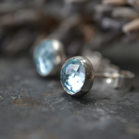 Sky blue topaz rose cut and sterling silver stud earrings