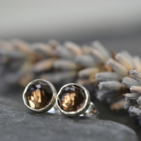Smoky quartz stud earrings (sterling silver)