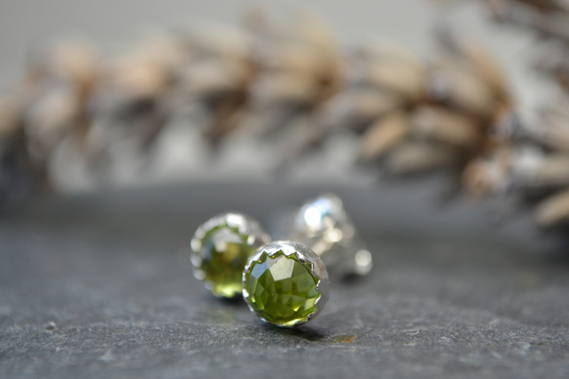 Peridot rose cut sterling silver stud earrings