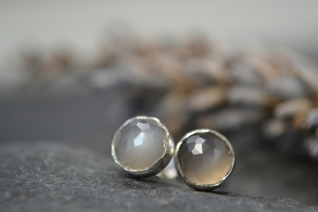 Grey moonstone rose cut sterling silver stud earrings