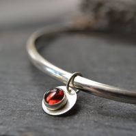 Sterling silver birthstone charm bangle - Garnet (January)